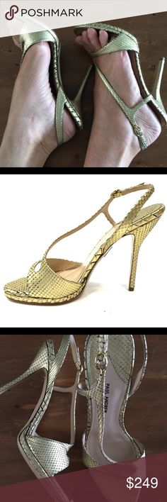 Paul Andrew Aria Gold Snakeskin Sandals See pic 6. Gold crackled snakeskin sandals. Size 40 is US 9. Comfortable and timeless. Worn once to an event - no wear other than soles. Paul Andrew Shoes Heels