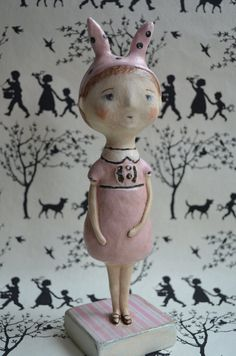 Primitive Folk Art Doll Paperclay Spring Girl