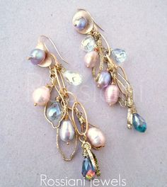 Pluie perlè earrings - Rossiani jewels - made in Italy - handmade jewels  Hammered enameled brass, freshwater pearls and Swarovsky crystals