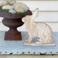 Spring Garden Rabbit Wooden Silhouette