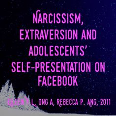 Narcissism, extraversion and adolescents' self-presentation on Facebook - Eileen Y.L. Ong a, Rebecca P. Ang, 2011 | Even after accounting for #extraversion, more #narcissistic #adolescents updated their #Facebook status more frequently than their less narcissistic peers did.