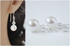 Crystal Bridal Earrings   Pearl Wedding Jewelry by Amanda Badgley Designs   A Bridal Jewelry Boutique {Bride + Bridesmaid Jewelry}
