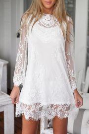 Chic Lace-Paneled Scalloped Hem Dress