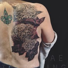 ruby jae tattooing — Black & gray hydrangea tattoo done. Some healed...