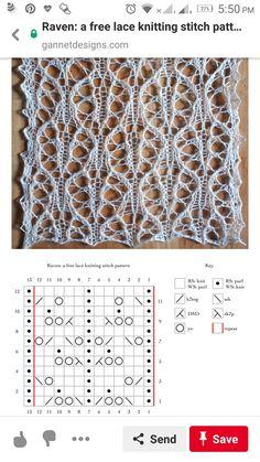 Lace Knitting Stitches, Knitting Paterns, Knitting Charts, Loom Knitting, Lace Patterns, Stitch Patterns, Crochet Patterns, Knit Picks, Yarn Crafts