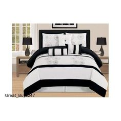 Bed-In-A-Bag Queen Size Comforter Set 7 Piece Embroidered Black and White #Unbranded