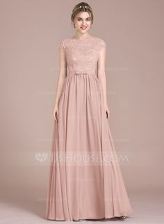 A-Line/Princess Scoop Neck Floor-Length Chiffon Lace Bridesmaid Dress With Bow(s) JJsHouse A-Line/Princess Scoop Neck Floor-Length Bow(s) Zipper Up Sleeves Short Sleeves No Other Colors Spring Summer Fall Winter General Plus Chiffon Lace Bridesmaid Dress. Light Pink Bridesmaid Dresses, Pink Prom Dresses, Blush Dresses, Lace Bridesmaid Dresses, Ball Dresses, Wedding Dresses, Junior Bride Dresses, Vestido Charro, Dress Brukat