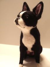 Custom Needle Felted Boston Terrier or Any Dog Your Choice By Artist Lacharmour