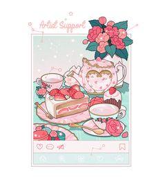 Cute Animal Drawings Kawaii, Kawaii Drawings, Kawaii Art, Cute Drawings, Cute Food Art, Cute Art, Cute Wallpaper Backgrounds, Cute Wallpapers, Aesthetic Art