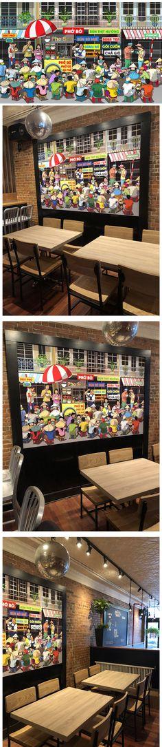 Wall mural design and installation at Pho Son Vietnamese Street Food restaurant, Burlington, VT. Designed by artist Cuong Huynh. Pho Restaurant, Restaurant Design, Mural Art, Wall Murals, Vietnamese Street Food, Pho Bo, Restaurant Consulting, Wall Design, Sons