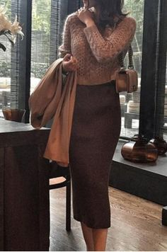 light brown sweater with a dark brown pencil skirt