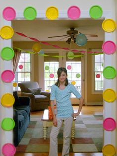Polka dot border around door using paper plates. Festive and easy!