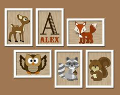 Modern Woodland Forest Animal Deer Owl Squirrel Raccoon FOX Custom Monogram Initial Name Set of 6 Prints WALL ART Gallery Baby Nursery Decor