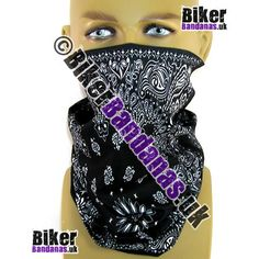 Black Circular Paisley Panel Multifunctional Headwear / Neck Tube Bandana.  One of over 400 Styles for Men and Women