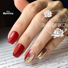 - Best ideas for decoration and makeup - Acrylic Nail Designs, Nail Art Designs, Red And Gold Nails, Red Nail Art, Pink Nail, Gel Nagel Design, Nagellack Trends, Super Nails, Nagel Gel
