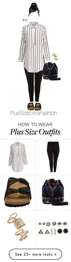 """""""Dressed Up Hipster Art Teacher : Plus Size Outfit"""" by plussizeextrafashion on Polyvore featuring New Look, Birkenstock, Yves Saint Laurent, With Love From CA, Topshop, Jessica Simpson, birkenstock, Leggings, plussize and teacher"""