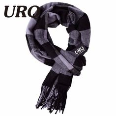 01ae1af997cb5 URQ Winter Scarf New Soft Cashmere Scarves Plaid Check Warm Oblong Fringe  Unisex Man Woman's Scarf Pashimina A3A17527