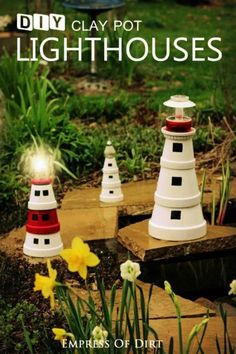 There are better options than a gnome to use as a decorative item for your garden and a good option is to make a really awesome looking clay pot lighthouse.