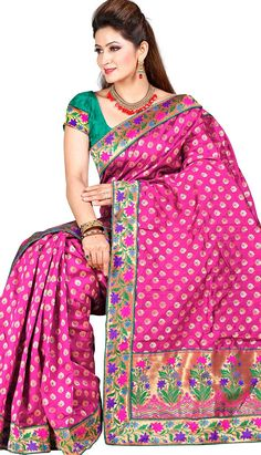 Traditional Ethnic Pink Jacquard #DesignerSaree Product code: KS-39349 Price: INR 3675(Unstitch Blouse), Color: Pink Shop Online now: http://www.efello.co/Saree_Traditional-Ethnic-Pink-Jacquard-Designer-Saree,-Sari_37821