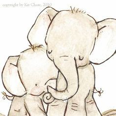 mommy and baby elephant drawing - Google Search