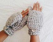 Crochet wool mittens, Convertible winter mittens for women, Fingerless gloves - Grey wool mittens