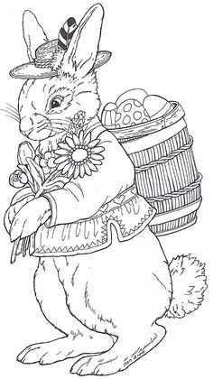 Rudi Bunny - Embroidery pattern ... would look really nice is all brown thread and framed -probably take me YEARS to finish though :)