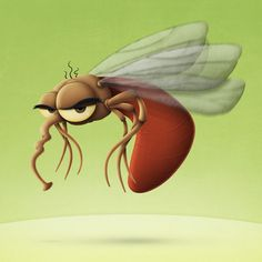 Mosquito Cartoon Character