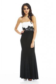 AX Paris Women's Strapless Lace Waist Maxi Dress - Online Exclusive, Women's, Size: 8;6, Black
