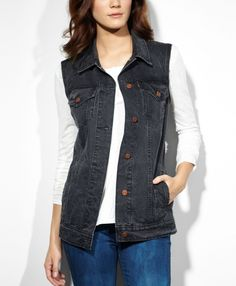 Levi's Boyfriend Trucker Vest - Summer Black - Jackets & Vests