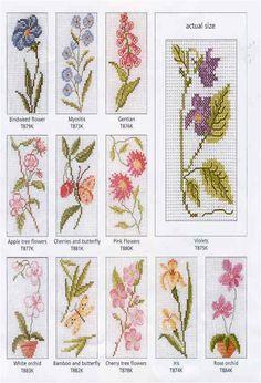 ♥ bookmarks segnalibri floreali a punto croce