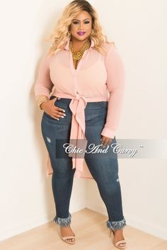 Plus Size High Waist Jean with Bottom Fringes in Denim