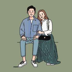 Cute Couple Drawings, Cute Couple Art, Cute Drawings, Cute Couples, Couple Illustration, Character Illustration, Illustration Art, Illustrations, Love Cartoon Couple
