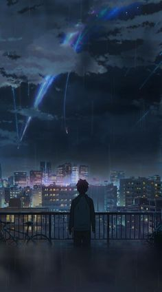 Night Anime Sky Illustration Art iPhone Wallpaper - iPhone Wallpapers - Best Quality Wallpapers for Your Phones Tattoo Girl Wallpaper, Your Name Wallpaper, Scenery Wallpaper, Sky Anime, Anime City, Animes Wallpapers, Live Wallpapers, Iphone Wallpapers, Lockscreen Hd