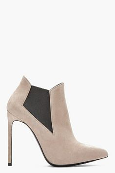 "SAINT LAURENT // TAUPE SUEDE PARIS ELA ANKLE BOOTS 31069F128003  Suede ankle boots in black. Pointed toe. Elasticized gore panels at flared collar. Leather sole in black. Tonal stitching. Approx. 4.5"" stiletto heel. 100% leather. Made in Italy"