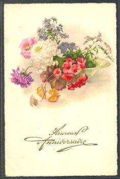 PH125-ANNIVERSAIRE-BIRTHDAY-MARGUERITES-DAISIES-MUM-PRIMROSES-Fine-LITHO-PITTIUS