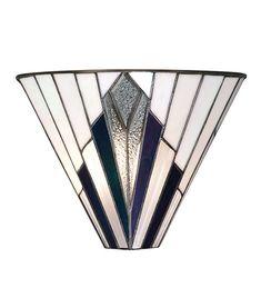 Art Deco Tiffany Glass Flush Wall Uplighter