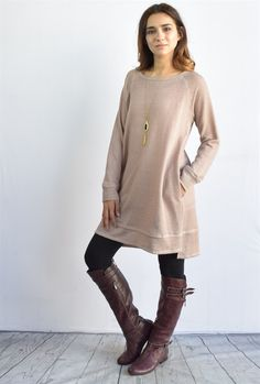 Double Layered Terry Tunic | Pocket + Suede Trim