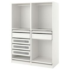 PAX Wardrobe - white stained oak effect - IKEA Pax Corner Wardrobe, White Wardrobe, Ikea Wardrobe, Ikea Closet, Pax Planer, Armoire D'angle, Pax System, Closet System