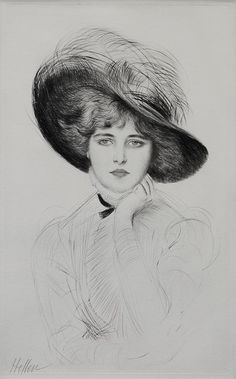 Femme au Chapeau  Etching with drypoint, plate size 22 1/4 x 13 5/8 inches, c. 1900, pencil signed. Helleu began his art career when he enrolled at the Ecole des Beaux Arts and worked as an apprentice for Theodore Deck, decorating ceramic plates with womens portraits. He became friends with many artists of La Belle Epoch, including John Singer Sargent, Whistler, Tissot, Monet and Rodin