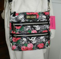 Betsey Johnson Skulls & Lace Crossbody Bag 2 Zip Purse Roses Black NWT #BetseyJohnson #CrossBody