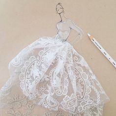 Fashion illustration - mixed media fashion sketch with lace // Jeanette Getrost