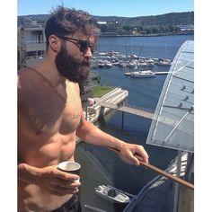 Luke Ditella - enjoying the sun. full thick dark beard and mustache beards bearded man men chest summer bearding #beardsforever