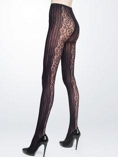 Exciting new tights: DKNY Pinstripe Lace Tight, $20, Belk.