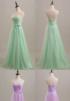 Cheap Bridesmaid Dresses with Sashes, Sweetheart Floor-length Bridesmaid Dress, Tulle Cheap Bridesmaid Dresses, #01012734