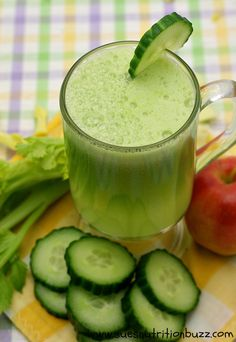 Cucumber celery apple ginger juice for smooth skin & strong hair