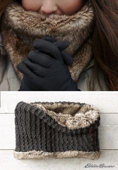 Faux fur/knit reversible cowl