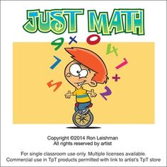 Let's face it, math can be tough and sometimes dull. (Can you tell what was my least favorite subject in school?) Get your students started with a smile with these funny, engaging toons.  Just Math includes 19 unique math related cartoon images from Abacus to Math Teachers  All images come in full color as well as black and white line art for a total of 38 images in eps, jpeg and png formats.