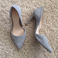 Gray Suede D'orsay Banana Republic Heel Very lightly worn in an office twice. Beautiful dove gray suede in a 3 inch classic heel shape. One small mark on back of right shoe as shown in photo 4 - it was there when purchased. Otherwise perfect condition. Never worn in rain or dirt- gorgeous shoe in a timeless color! Banana Republic Shoes Heels