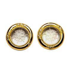 Elizabeth Gage Rock Crystal Snowflake Earrings | 1stdibs.com