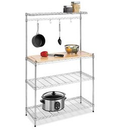 Organize your pots and pans as well as other cooking utensils with the Kitchen Baker Rack. This rack has four shelves and a hanging rack.
